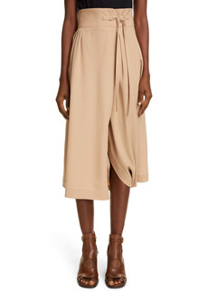 Chloé Pleated Wrap Midi Skirt