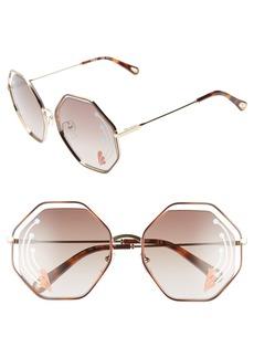 Chloé Poppy 58mm Octagonal Halo Lens Sunglasses