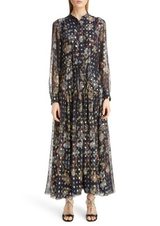 Chloé Print Metallic Long Sleeve Fil Coupé Maxi Shirtdress