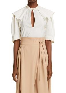 Chloé Ruffle Shoulder Silk Blend Top