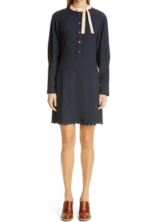 Chloé Scallop Hem Long Sleeve Dress