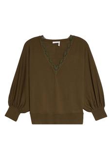 Chloé Scalloped Lace V-Neck Wool Sweater