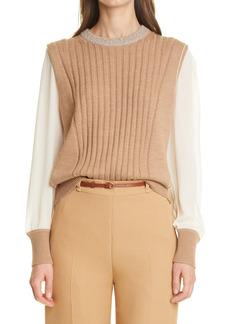 Chloé Silk Sleeve Ribbed Wool Sweater