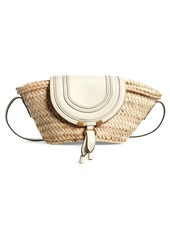 Chloé Small Marcie Leather & Raffia Tote