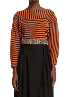 Chloé Stripe Boatneck Cotton Sweater