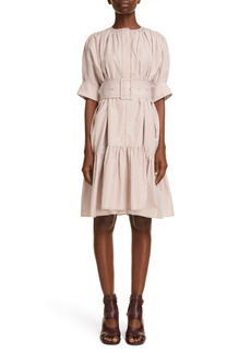 Chloé Stripe Embroidered Ruffle Poplin Dress