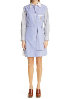 Chloé Stripe Floral Embroidered Long Sleeve Poplin Shirtdress