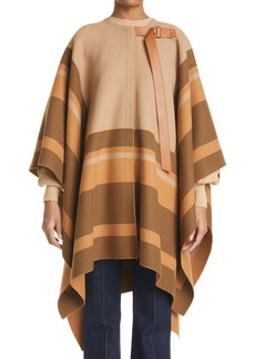 Chloé Stripe Trim Virgin Wool Cape