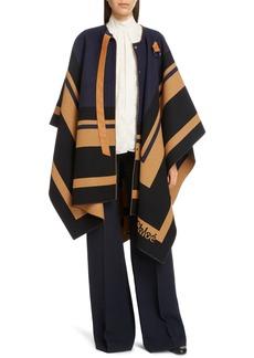 Chloé Stripe Trim Wool Cape