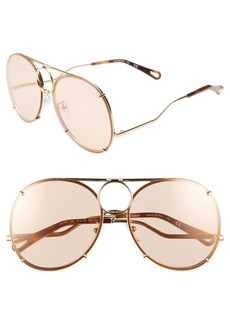 Chloé Vicky 61mm Round Aviator Sunglasses