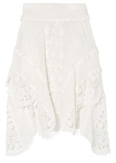 Chloé Woman Asymmetric Guipure Lace-trimmed Linen Skirt White