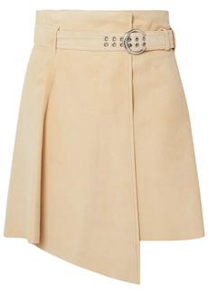 Chloé Woman Asymmetric Suede Mini Skirt Beige
