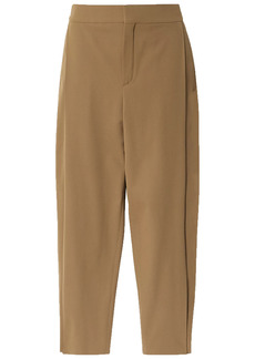 Chloé Woman Cropped Stretch-twill Tapered Pants Light Brown