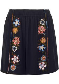 Chloé Woman Embroidered Crepe Mini Skirt Navy