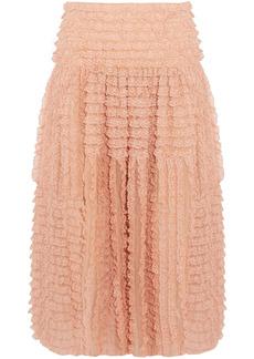 Chloé Woman Ruffled Lace-appliquéd Silk-organza Midi Skirt Blush