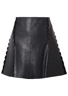 Chloé Woman Scalloped Leather Mini Skirt Navy