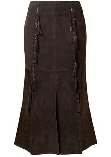 Chloé Woman Tassel-trimmed Suede Midi Skirt Dark Brown