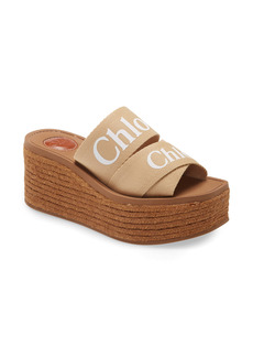 Chloé Woody Logo Espadrille Platform Slide Sandal (Women)
