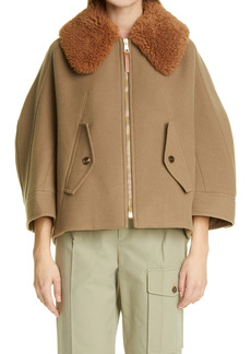 Chloé Wool Blend Coat with Removable Genuine Shearling Collar