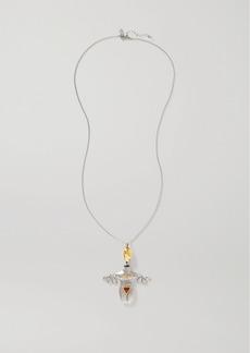 Chloé Femininities Palladium- And Gold-tone Crystal And Enamel Necklace