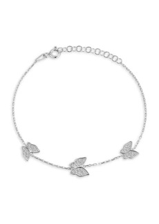 Chloé Rhodium-Plated Sterling Silver & Cubic Zirconia Butterfly Bracelet