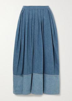 Chloé Two-tone Pleated Denim Midi Skirt