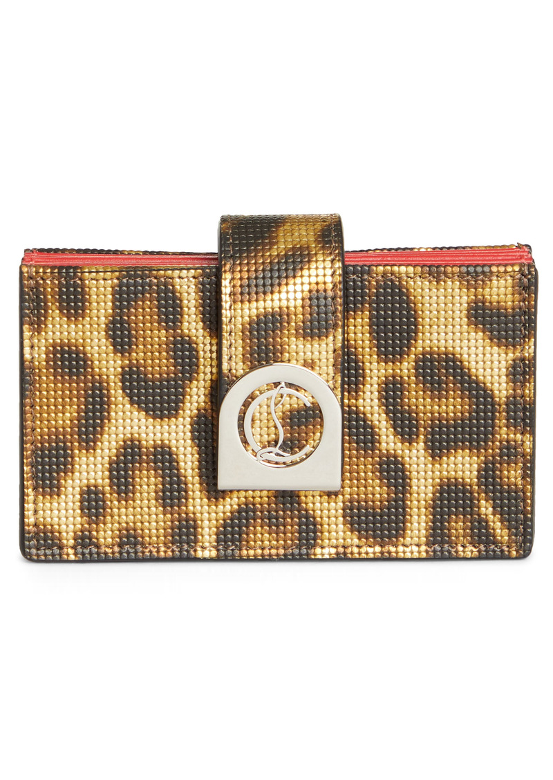Christian Louboutin Elisa Leopard Print Accordion Leather Card Holder