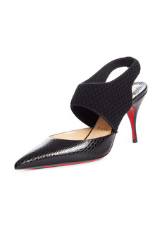 Christian Louboutin Georgette Reptile Embossed Pointed Toe Pump (Women)