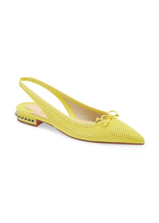 Christian Louboutin Hall Spike Perforated Slingback Flat (Women)