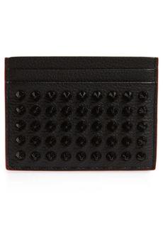 Christian Louboutin Kios Spikes Calfskin Leather Card Case
