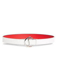 Christian Louboutin Logo Buckle Embossed Leather Belt
