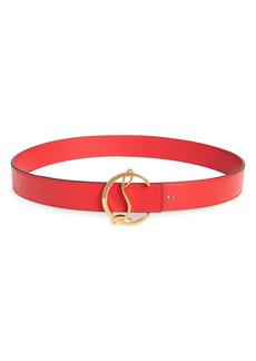 Christian Louboutin Logo Buckle Leather Belt