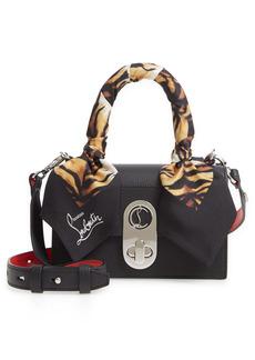 Christian Louboutin Mini Elisa Empire Silk Top Handle Leather Bag