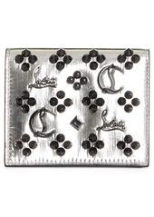 Christian Louboutin Palatin Spike Logo Metallic Leather Bifold Wallet