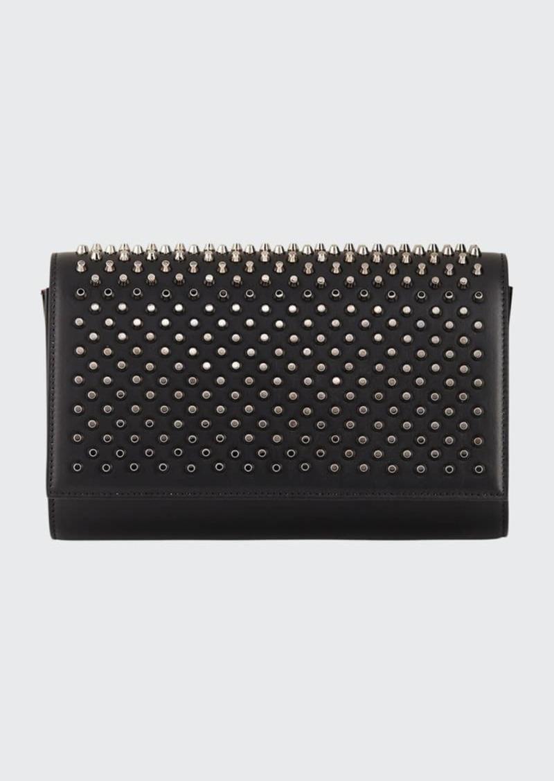 Christian Louboutin Paloma Fold-Over Spike Clutch Bag  Black