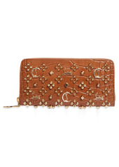 Christian Louboutin Panettone Embellished Croc Embossed Patent Leather Wallet