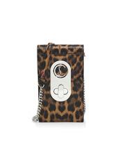 Christian Louboutin Elisa Leopard-Print Leather Crossbody Phone Pouch
