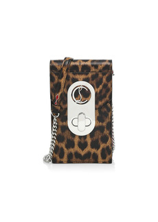 Christian Louboutin Elisa Leopard-Print Leather Crossbody Phone Pouch