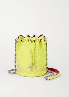 Christian Louboutin Marie Jane Neon Crystal-embellished Suede Bucket Bag