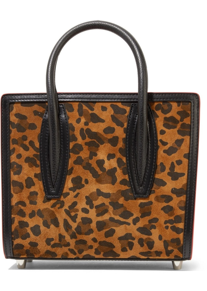 Christian Louboutin Paloma Mini Leopard-print Suede, Leather And Canvas And Tote