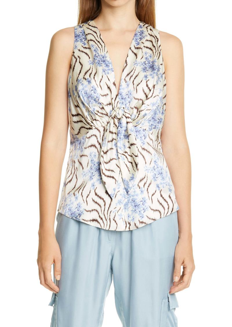 Cinq a Sept Cinq à Sept Tiffany Mixed Print Silk Top