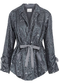 Cinq a Sept Cinq À Sept Woman Mathieu Bow-detailed Sequined Mesh Jacket Gunmetal