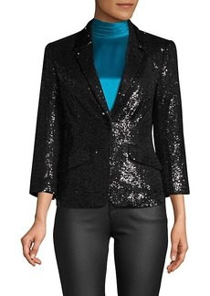 Cinq a Sept Sequin Flap-Pocket Blazer