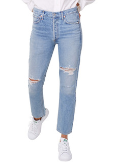 Citizens of Humanity Ripped High Waist Ankle Straight Leg Jeans (Moondust)