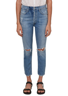 Citizens of Humanity Ripped High Waist Crop Straight Leg Jeans (Morning Light)
