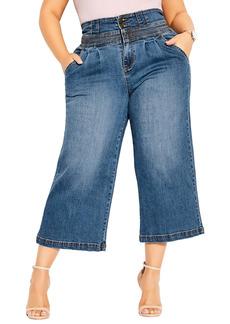City Chic High Waist Crop Denim Culottes (Plus Size)