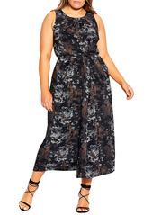 City Chic Linear Sleeveless Faux Wrap Dress (Plus Size)