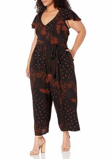 City Chic Women's Apparel Women's Plus Size Culotte Style Jumpsuit with tie Belt Detail  L