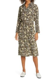 Club Monaco Floral Long Sleeve Drawstring Waist Silk Satin Shirtdress