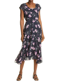 Club Monaco Floral Print Silk Midi Dress
